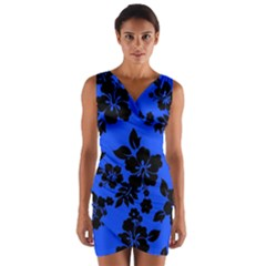 Dark Blue Hawaiian Wrap Front Bodycon Dress