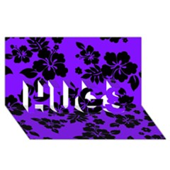 Violet Dark Hawaiian HUGS 3D Greeting Card (8x4)