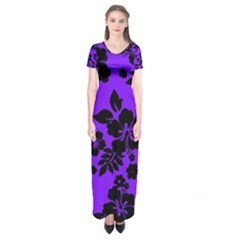 Violet Dark Hawaiian Short Sleeve Maxi Dress