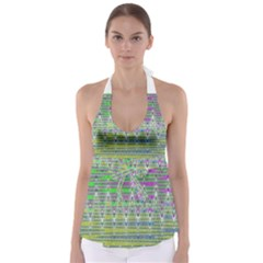Colorful Zigzag Pattern Babydoll Tankini Top