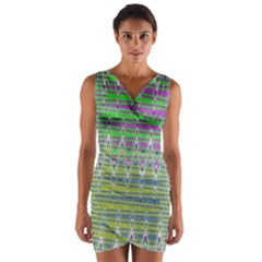 Colorful Zigzag Pattern Wrap Front Bodycon Dress