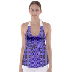 Blue Black Geometric Pattern Babydoll Tankini Top