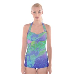 Green Blue Pink Color Splash Boyleg Halter Swimsuit