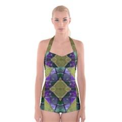 Purple Yellow Stone Abstract Boyleg Halter Swimsuit