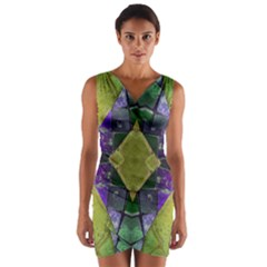 Purple Yellow Stone Abstract Wrap Front Bodycon Dress
