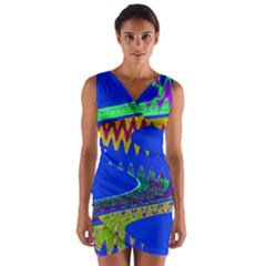 Colorful Wave Blue Abstract Wrap Front Bodycon Dress