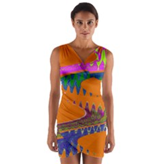 Colorful Wave Orange Abstract Wrap Front Bodycon Dress
