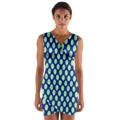 Mod Retro Green Circles On Blue Wrap Front Bodycon Dress