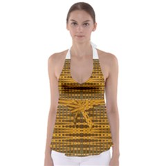 Yellow Gold Khaki Glow Pattern Babydoll Tankini Top