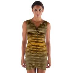 Yellow Gold Khaki Glow Pattern Wrap Front Bodycon Dress
