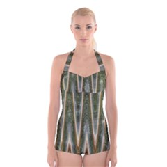 Green Brown Zigzag Boyleg Halter Swimsuit