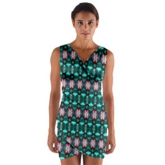 Fancy Teal Red Pattern Wrap Front Bodycon Dress