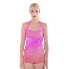 Ombre Pink Orange Boyleg Halter Swimsuit
