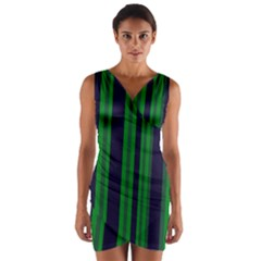 Dark Blue Green Striped Pattern Wrap Front Bodycon Dress