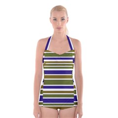 Olive Green Blue Stripes Pattern Boyleg Halter Swimsuit
