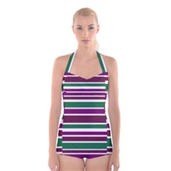 Purple Green Stripes Boyleg Halter Swimsuit