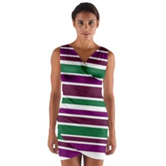 Purple Green Stripes Wrap Front Bodycon Dress
