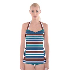Teal Brown Stripes Boyleg Halter Swimsuit