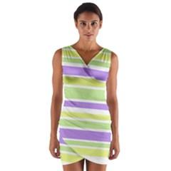 Yellow Purple Green Stripes Wrap Front Bodycon Dress