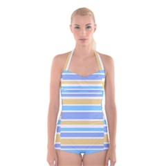Blue Yellow Stripes Boyleg Halter Swimsuit