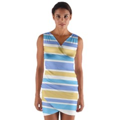 Blue Yellow Stripes Wrap Front Bodycon Dress
