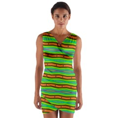Bright Green Orange Lines Wrap Front Bodycon Dress