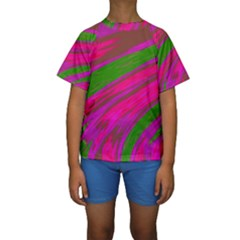 Swish Bright Pink Green Design Kid s Short Sleeve Swimwear