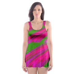 Swish Bright Pink Green Design Skater Dress Swimsuit