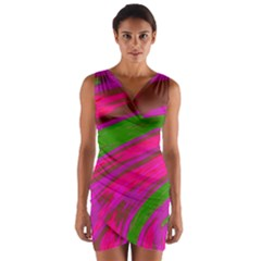 Swish Bright Pink Green Design Wrap Front Bodycon Dress