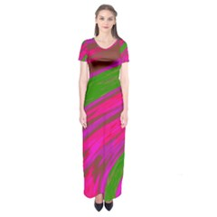 Swish Bright Pink Green Design Short Sleeve Maxi Dress