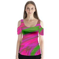 Swish Bright Pink Green Design Butterfly Sleeve Cutout Tee