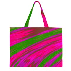 Swish Bright Pink Green Design Large Tote Bag