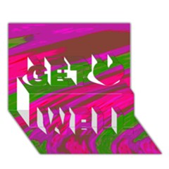 Swish Bright Pink Green Design Get Well 3D Greeting Card (7x5)