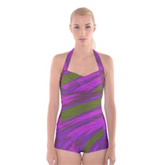 Swish Purple Green Boyleg Halter Swimsuit