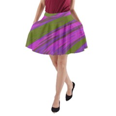 Swish Purple Green A-Line Pocket Skirt