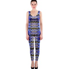 Pattern Tile Blue White Green OnePiece Catsuit