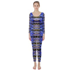 Pattern Tile Blue White Green Long Sleeve Catsuit