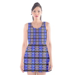Pattern Tile Blue White Green Scoop Neck Skater Dress