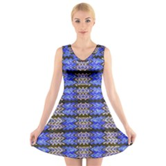 Pattern Tile Blue White Green V-Neck Sleeveless Skater Dress