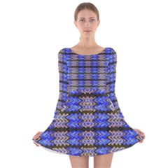 Pattern Tile Blue White Green Long Sleeve Velvet Skater Dress