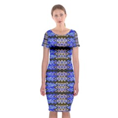 Pattern Tile Blue White Green Classic Short Sleeve Midi Dress