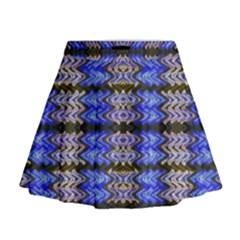 Pattern Tile Blue White Green Mini Flare Skirt