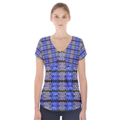 Pattern Tile Blue White Green Short Sleeve Front Detail Top