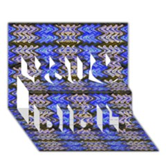 Pattern Tile Blue White Green You Did It 3D Greeting Card (7x5)