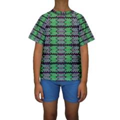 Pattern Tile Green Purple Kid s Short Sleeve Swimwear