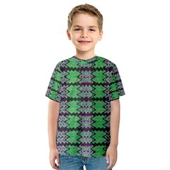 Pattern Tile Green Purple Kid s Sport Mesh Tee