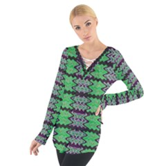 Pattern Tile Green Purple Women s Tie Up Tee