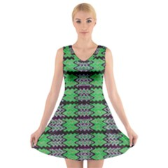 Pattern Tile Green Purple V-Neck Sleeveless Skater Dress