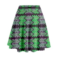 Pattern Tile Green Purple High Waist Skirt