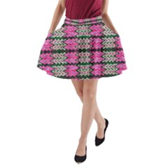 Pattern Tile Pink Green White A-Line Pocket Skirt